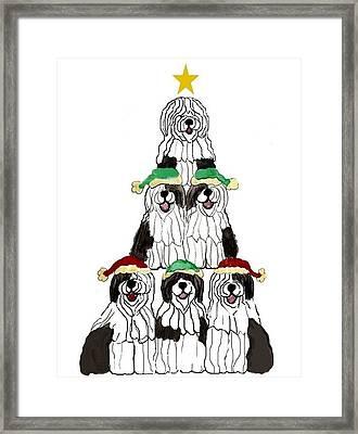 Sheepdog Christmas Tree Framed Print
