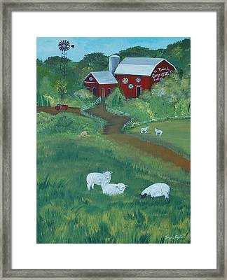 Sheeps In The Meadow Framed Print