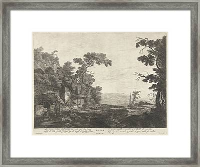 Sheepshearers In A Landscape The Summer Season Framed Print by Pieter Nolpe And Frederik De Wit