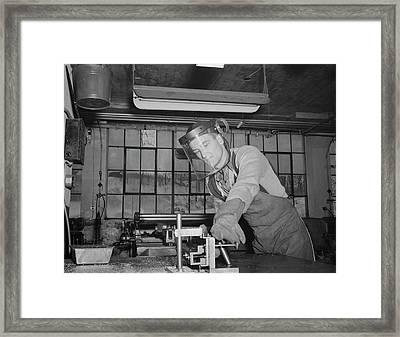 Sheet Metal Foreman Making Vital Parts Framed Print by Stocktrek Images