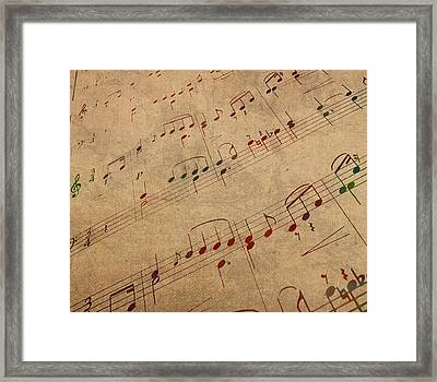 Sheet Music Watercolor Portrait On Worn Distressed Canvas Framed Print by Design Turnpike