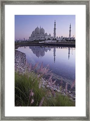 Sheikh Zayed Grand Mosque At Sunrise Framed Print