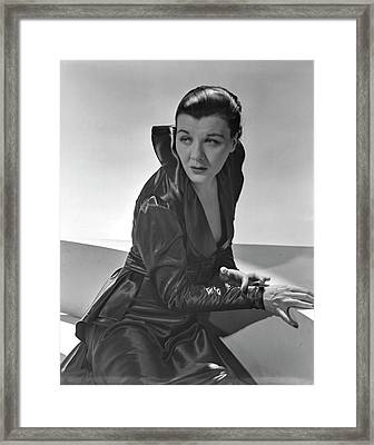 Sheila Barrett Wearing A Gown With High Collar Framed Print