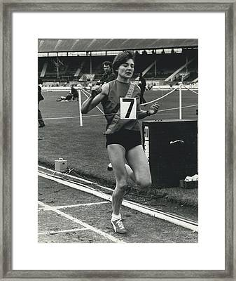 Sheila Taylor Wins 800 Metres Framed Print by Retro Images Archive