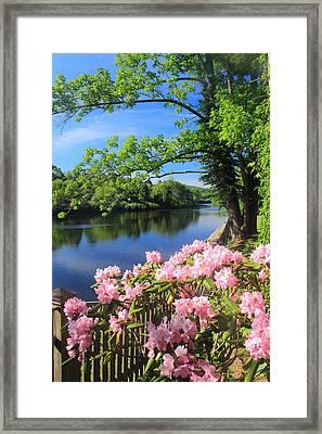 Shelburne Falls Deerfield River And Bridge Of Flowers Framed Print by John Burk