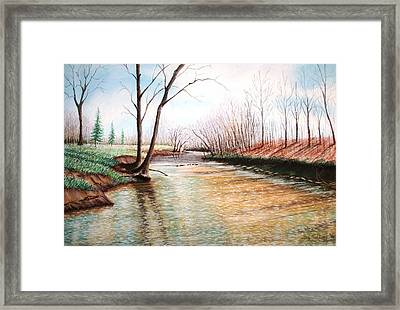 Framed Print featuring the pastel Shelby Stream by Stacy C Bottoms