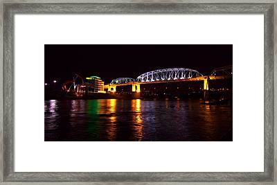 Shelby Street Bridge At Night Framed Print by Dan Sproul