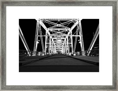 Shelby Street Bridge At Night In Nashville Framed Print by Dan Sproul