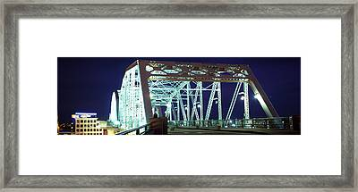 Shelby Street Bridge At Night Framed Print by Panoramic Images