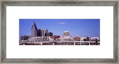 Shelby Street Bridge With Downtown Framed Print by Panoramic Images