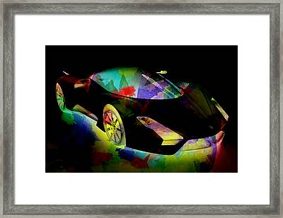 Shelby Super Car Colorful Abstract On Black Framed Print by Eti Reid