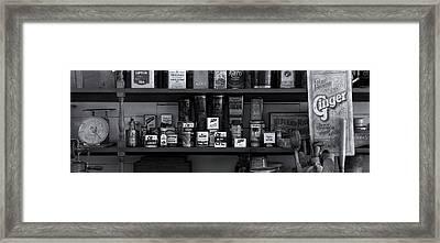 Shelf Of Old General Store In Historic Framed Print