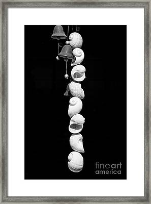 Shell And Bell Wind Chime - Black And White Framed Print