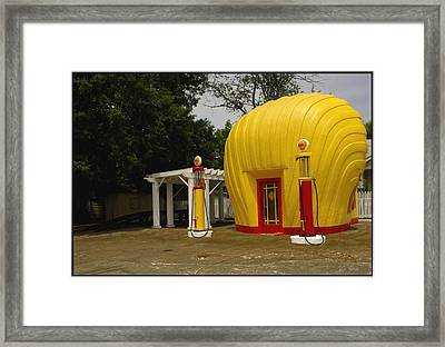 Shell Oil Gas Station Framed Print