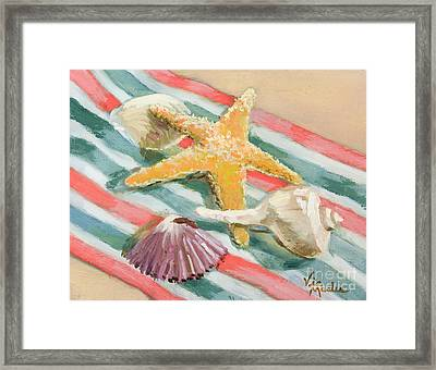 Framed Print featuring the painting Shells Abound by Vic  Mastis
