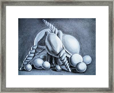 Shells Shells And Balls Still Life Framed Print by Irina Sztukowski