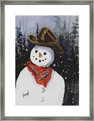 Shelly's Snowman Framed Print by Sam Sidders