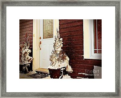 Shelter From The Storm - Blizzard - Snow Storm Framed Print by Barbara Griffin