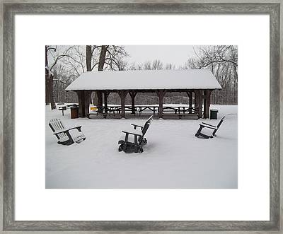 Framed Print featuring the digital art Shelter House Snow by Eric Switzer