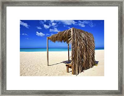 Shelter On A White Sandy Caribbean Beach With A Blue Sky And White Clouds Framed Print