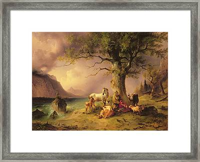 Sheltering From The Storm Framed Print by Friedrich Gauermann