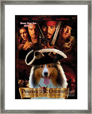 Sheltie - Shetland Sheepdog Art Canvas Print - Pirates Of The Caribbean The Curse Of The Black Pearl Framed Print