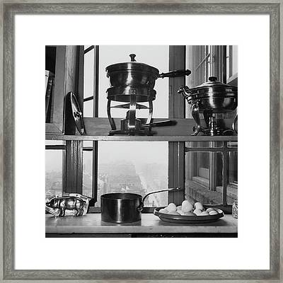 Shelves In Front Of A Window In Vivian Roome's Framed Print