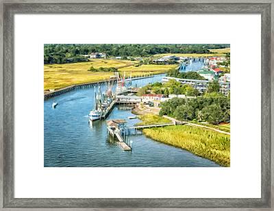Shem Creek Aerial View Framed Print