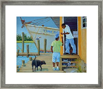 Shem Creek Docks Week End Framed Print
