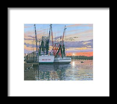Shem Creek Framed Prints