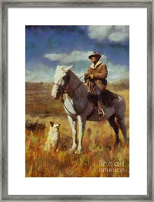 Framed Print featuring the painting Shepherd And His Dog by Kai Saarto