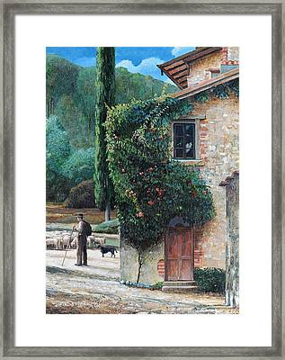 Shepherd, Peralta, Tuscany, 2001 Oil On Canvas Framed Print by Trevor Neal