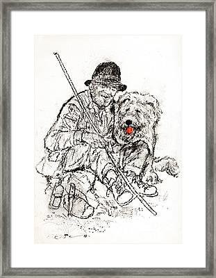 Shepherd With Dog Framed Print by Kurt Tessmann