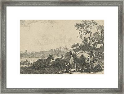 Shepherd With Dog On A Hill, Playing On A Flute Framed Print by Artokoloro