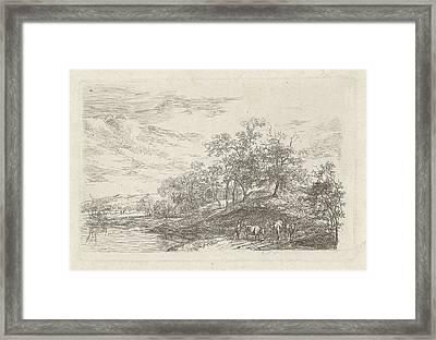 Shepherd With Three Cows, Print Maker Hermanus Fock Framed Print by Artokoloro