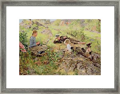 Shepherds Framed Print by Erik Theodor Werenskiold