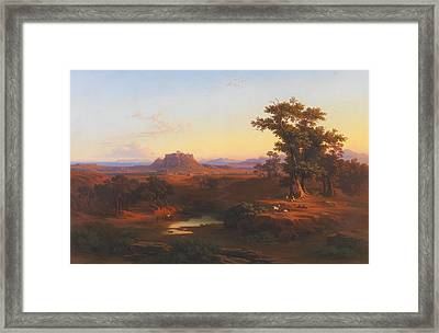 Shepherds In A Bucolic Athenean Landscape Framed Print by Celestial Images