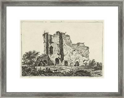 Shepherds With Dog In Ruin, Hermanus Fock Framed Print