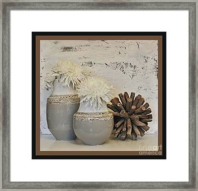 Shere Of Twigs Recycled From Sea Framed Print by Marsha Heiken