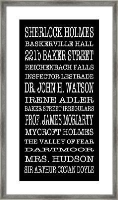 Sherlock Holmes Bus Scroll Framed Print by Lou Ford