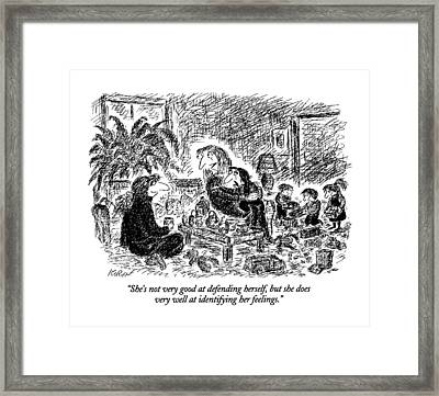 She's Not Very Good At Defending Herself Framed Print by Edward Koren