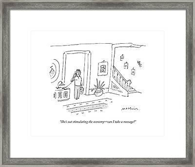 She's Out Stimulating The Economy - Can I Take Framed Print