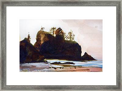 Framed Print featuring the painting Shi-shi Beach by Ed  Heaton
