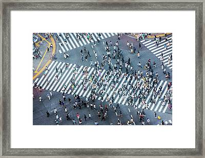 Shibuya Crossing Aerial Framed Print by Davidf