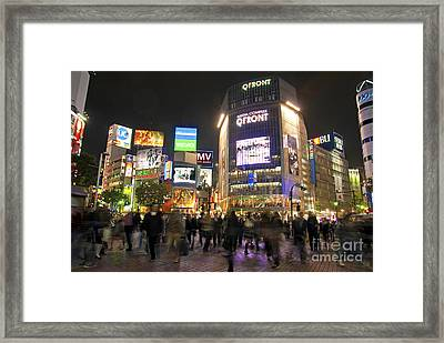 Shibuya Crossing At Night Tokyo Japan  Framed Print