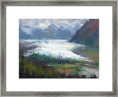 Framed Print featuring the painting Shifting Light - Matanuska Glacier by Talya Johnson