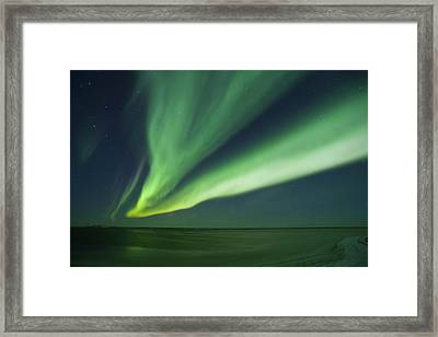 Shimmering Curtains Of Green Aurora Framed Print