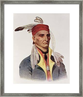 Shin-ga-ba Wossin Or Image Stone,  A Chippeway Chief, 1826, Illustration From The Indian Tribes Framed Print by James Otto Lewis
