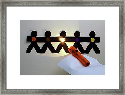 Shining A Torch On Paper Chain Framed Print