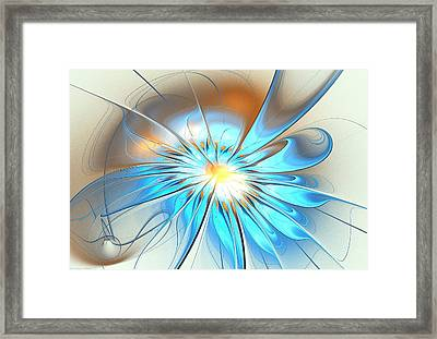 Shining Blue Flower Framed Print